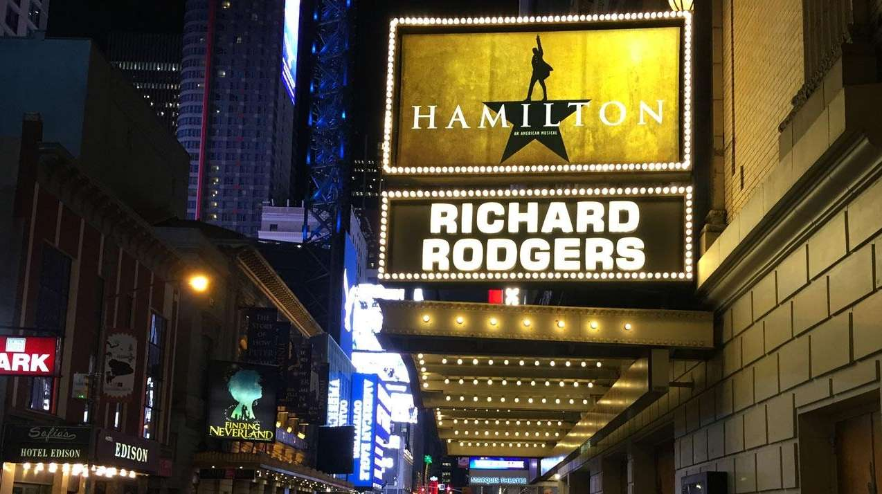 The Hamilton marquee on Broadway.