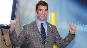 Eli Manning of the New York Giants visits