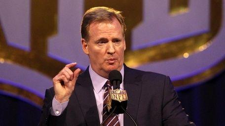 NFL commissioner Roger Goodell speaks during a news