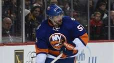New York Islanders defenseman Johnny Boychuk skates with