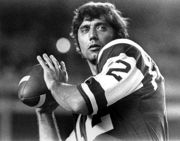 Jets great Joe Namath drops back to