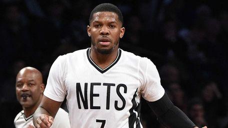 Brooklyn Nets forward Joe Johnson controls the ball