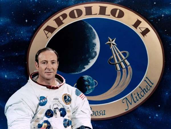 Apollo 14 astronaut Edgar Mitchell poses in