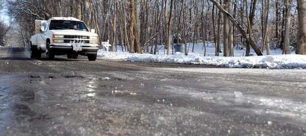 Ice on Mill Road in Yaphank on Saturday,