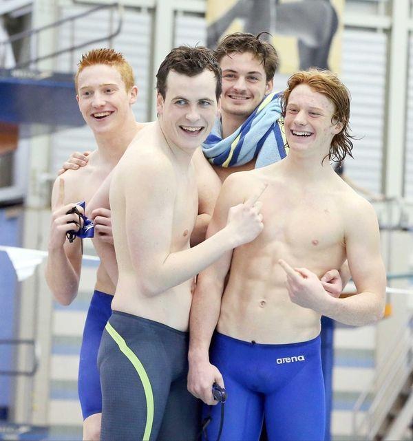 Long Beach's winning 200-yard freestyle relay team of