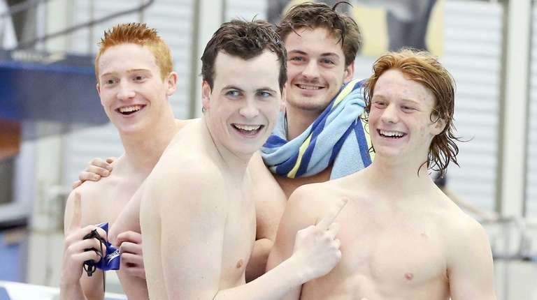 Long Beach's winning 200-yard freestyle relay team of