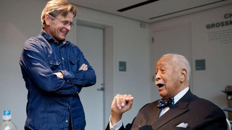 Former New York City Mayor David Dinkins, right,