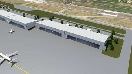 Rendering of the new 210,000-square-foot hangar, a $55