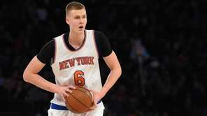 New York Knicks forward Kristaps Porzingis looks to