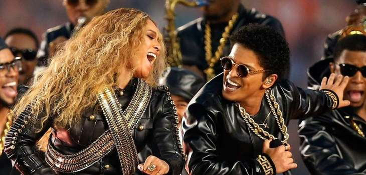 Beyonce and Bruno Mars perform during the halftime