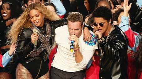 Beyoncé, Chris Martin of Coldplay and Bruno Mars