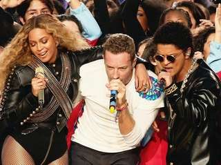 Beyoncé, Chris Martin of Coldplay and Bruno Mars