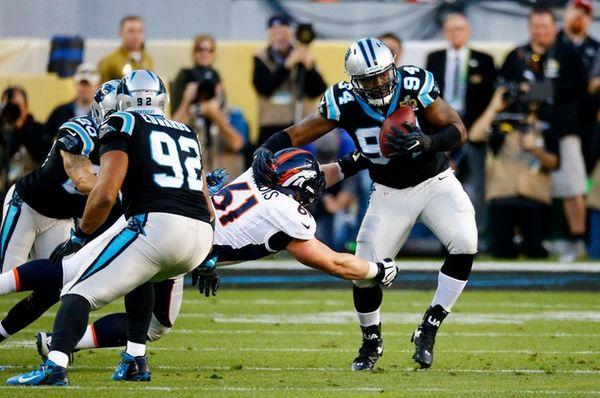 Kony Ealy of the Carolina Panthers intercepts