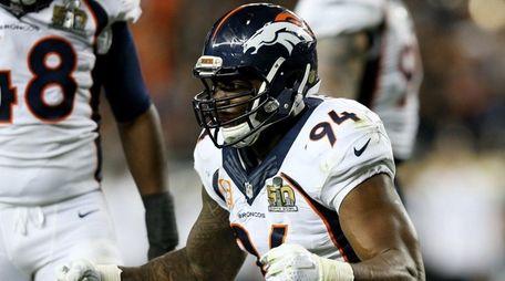 DeMarcus Ware of the Denver Broncos celebrates