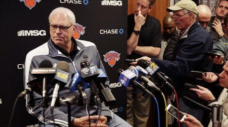 New York Knicks President Phil Jackson takes questions