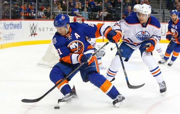 Griffin Reinhart #8 of the Edmonton Oilers