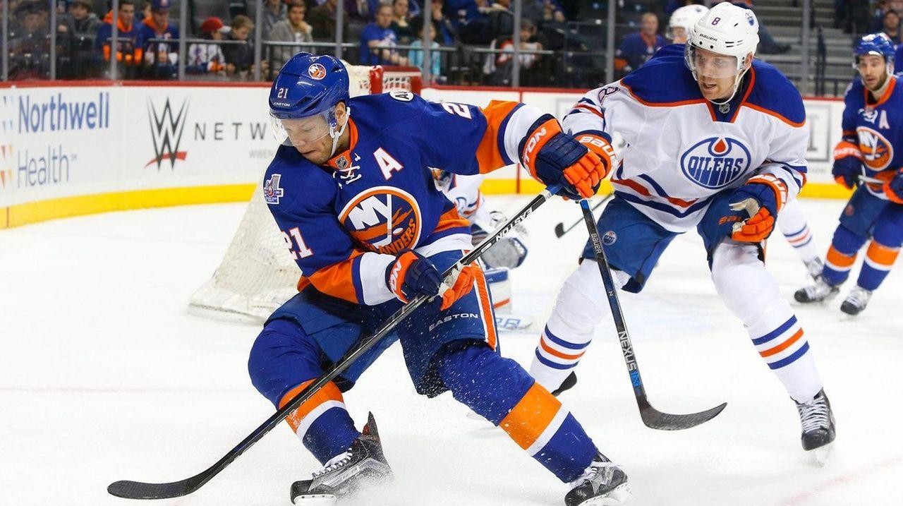 Griffin Reinhart #8 of the Edmonton Oilers