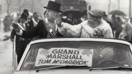 Grand marshal Tom McCarrick leads the St. Patrick's