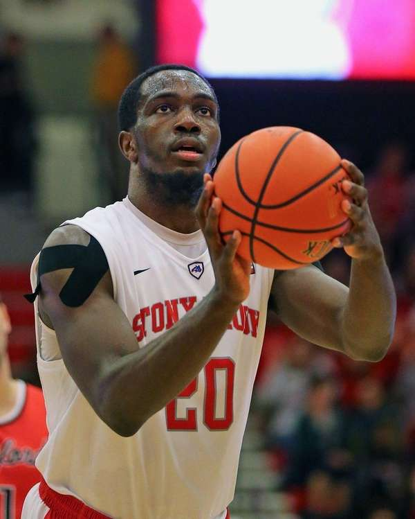 Stony Brook's Jameel Warney goes up for a