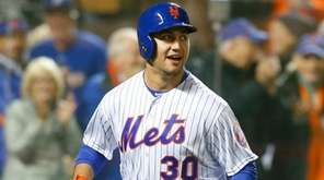 New York Mets leftfielder Michael Conforto reacts