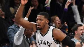 Brooklyn Nets forward Joe Johnson reacts after he