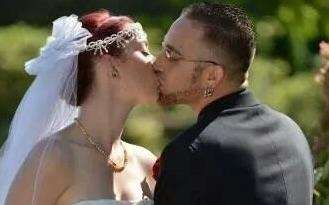 Kissing my beautiful bride.