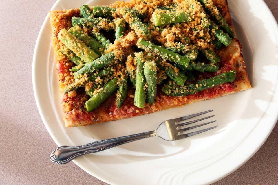 Asparagus-and-breadcrumb pizza, Gino's Pizzeria & Ristorante