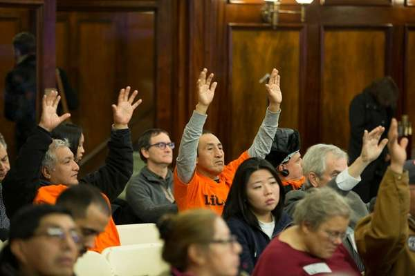 New York city council members discuss during the