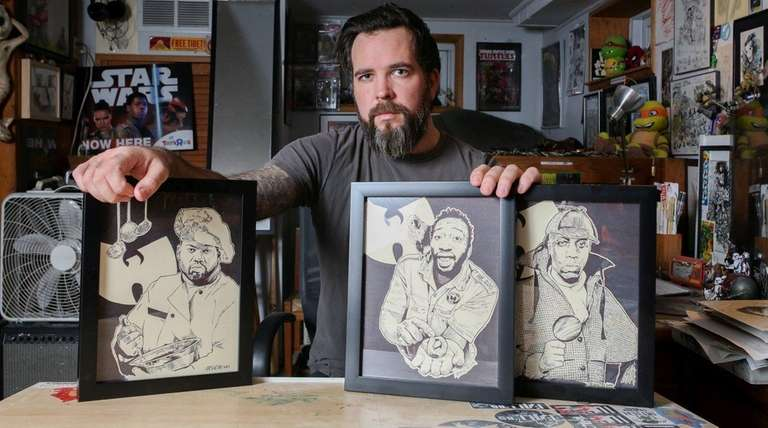 Illustrator Jason Koza poses for a portrait with