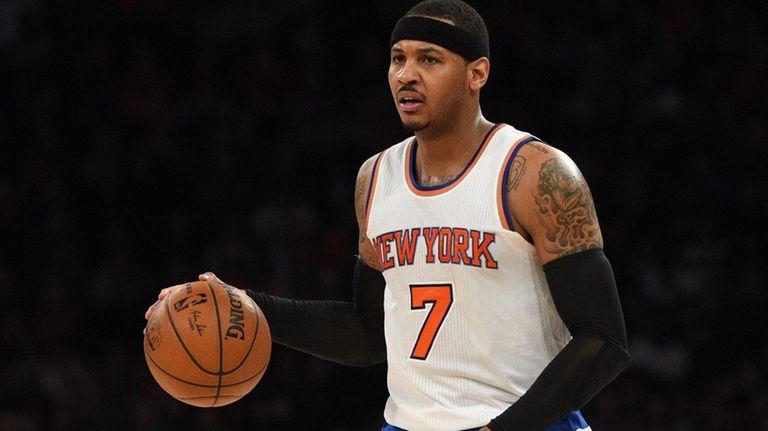 New York Knicks forward Carmelo Anthony brings