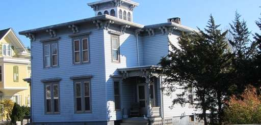 This five-bedroom Italianate Victorian in Greenport features a