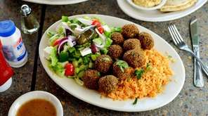 The falafel platter made with house-made chickpea falafel