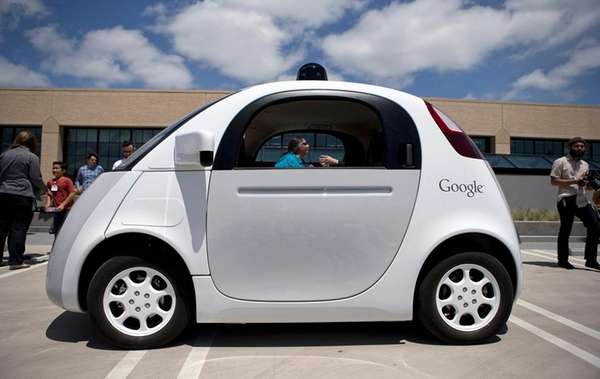 Google's new self-driving prototype car is seen at