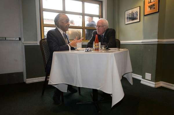 Democratic presidential candidate Bernie Sanders meets with