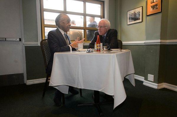 Democratic presidential candidate Bernie Sanders meets with