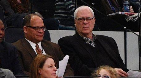 New York Knicks president Phil Jackson watches