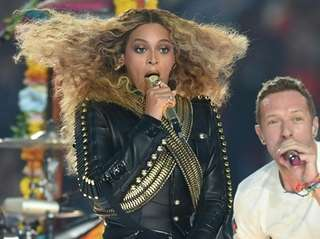 Beyonce and Chris Martin perform during Super Bowl