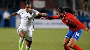 United States forward Crystal Dunn (16) moves