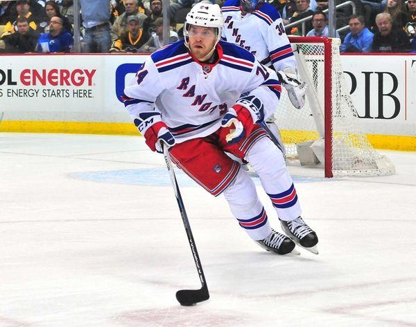 Oscar Lindberg of the New York Rangers skates