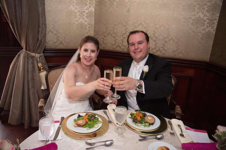 Toasting ourselves at our beautiful wedding. We will
