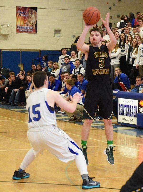 Ward Melville's Matt Hudzik shoots a three-point shot
