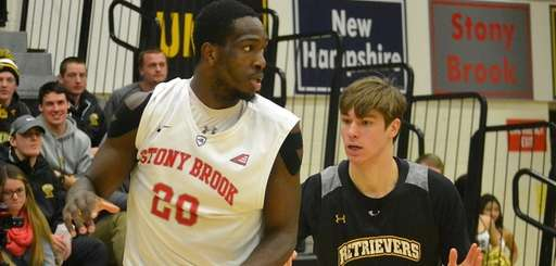 Stony Brook's Jameel Warney posts up against UMBC