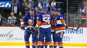 Johnny Boychuk of the New York Islanders celebrates