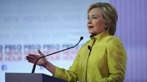 Democratic presidential candidate Hillary Clinton participates in the