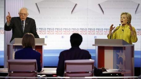 Democratic presidential candidates Vermont Sen. Bernie Sanders and