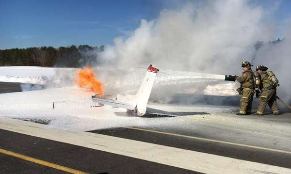 Emergency crews respond to a plane on fire