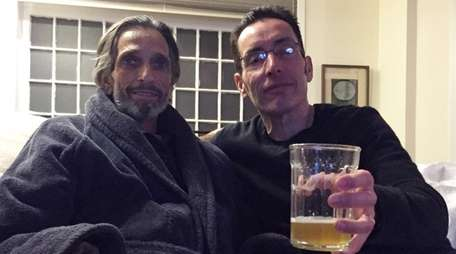 John Hanc, right, visits with his friend Jimmy