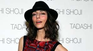 Actress Necar Zadegan poses backstage at the Tadashi