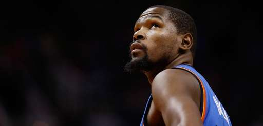Kevin Durant of the Oklahoma City Thunder looks