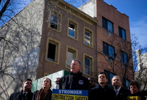 New York Mayor Bill de Blasio, joined by